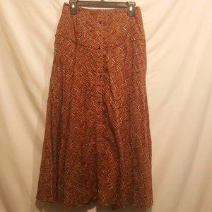 Nordstrom Code X Mode cottagecore brown midi skirt